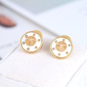 Tory Burch Gold T Logo Circle Stud Earrings